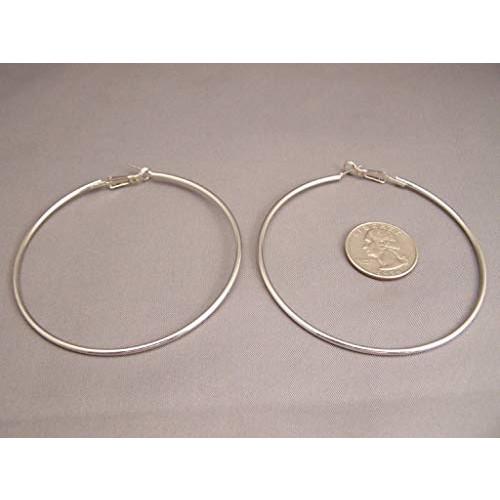 Big hoop earrings Silver huge giant 4 wide hoops thin wire very lightweight