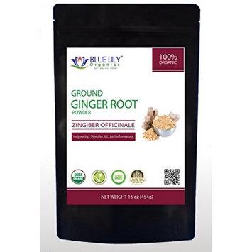 Blue Lily Organics's Premium Ginger Root Ground (Non Sulfite) 1 Lb Certified Organic Non-GMO and Gluten Free