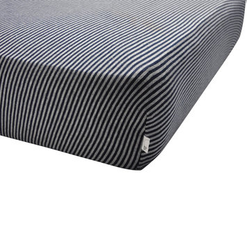 Burt's Bees Baby Bee Essentials Stripe Organic Cotton Fitted Crib Sheet in Blueberry