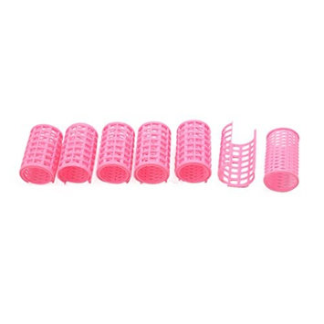 uxcell 6 Pcs Pink Plastic DIY Home Salon Hair Curlers Clips Rollers Hairdressing Beauty Tools