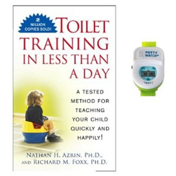 Toilet Training in Less Than A Day Guide Book with Potty Watch Trainer, Green