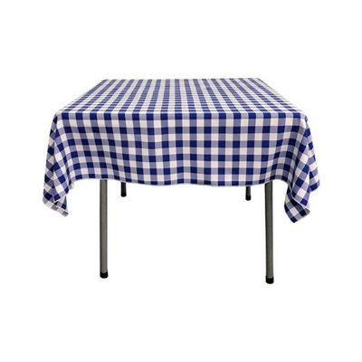 LA Linen TCcheck52x52-RoyalK50 Polyester Gingham Checkered Square Tablecloth, White & Royal Blue - 52 x 52 in.