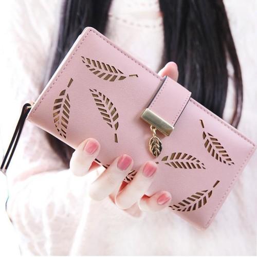 Voberry® Women Leaf Bifold Wallet Leather Clutch Card Holder Purse Lady Long Handbag