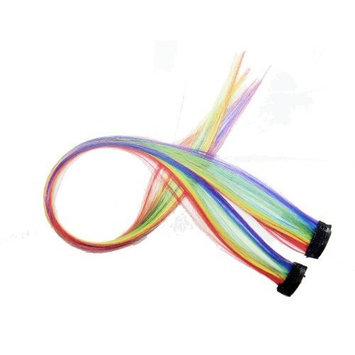 OPT. 2 X Rainbow Color Grizzly Synthetic Feather Clip on in Hair Extensions Handmade Beauty Salon Supply. From New York.