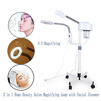 2 in 1 5x Magnifying Lamp with Facial Steamer, Cold Light/LED Light Magnifying Floor Light Skincare Tattoo Manicure Beauty Spa Makeup Light with Rolling... [5X Magnifying LED Light]