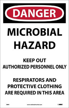 National Marker DANGER, MICROBIAL HAZARD. . , 17X11, PAPER, 100/PK (200 Pack)