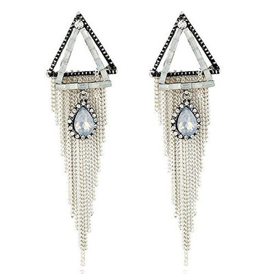 Missgrace Women White Vintage Bohemia Earring Handmade Tassel Cocktail Earring Carnival Jewelry Women Dangle Halloween Women Jewelry Bridesmaid Gift
