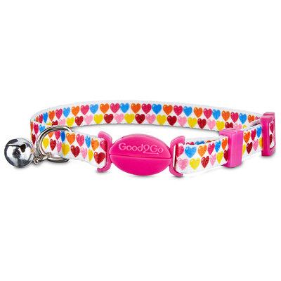 Good2Go Multicolor Heart Breakaway Cat Collar, For Necks 8