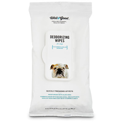 Well & Good Cucumber Melon Deodorizing Dog Wipes, Pack of 24 wipes