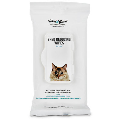 Well & Good Shed Reducing Cat Wipes, Pack of 24 wipes