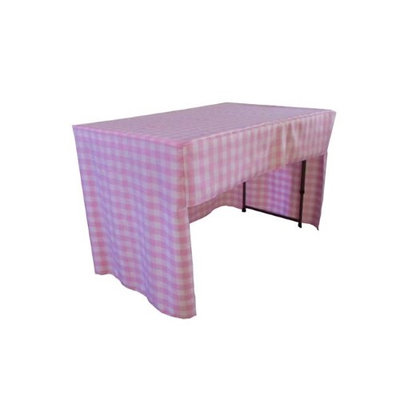 LA Linen TCcheck-OB-fit-96x18x30-PinkK37 Open Back Fitted Checkered Classroom Tablecloth White & Pink - 96 x 18 x 30 in.