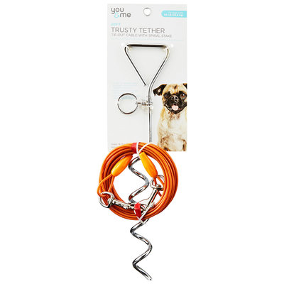 You & Me Trusty Tether Orange Tie-Out Cable with Spiral Stake, 20' L, For Dogs up to 50 Lbs.