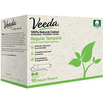 Veeda Natural All-Cotton Tampons, Regular, Compact Applicator, 90 Count [Regular Tampons]