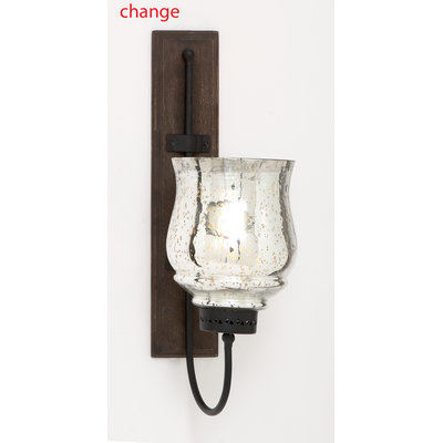 Uma Enterprises Benzara Metal And Wood Candle Sconce With Sturdy Construction