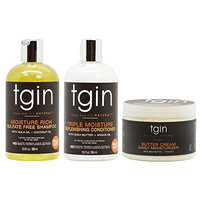 tgin Moisture Rich Sulfate Free Shampoo + Triple Moisture Replenishing Conditioner 13oz +Butter Cream Daily Moisturizer 12oz