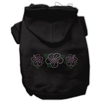 Mirage Pet Products 54-79 BK Tropical Flowers Rhinestone Black Hoodie, X-Large