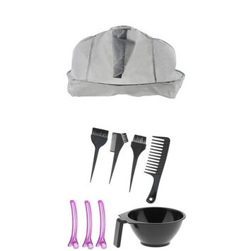 MagiDeal Professional Salon Hair Coloring Dye Bowl Comb Brushes Clips Kit Set Tint DIY Tool with Grey Hair Cutting Cape