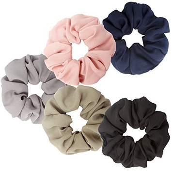 Cocider 5 pieces Hair Scrunchies Hair Bobbles Scrunchies Chiffon Flower Hair Bow Elastic Ponytail Holder for Women and Girls Long middle Hair 5 Colours
