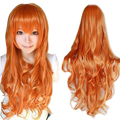 Anogol Hair+Cap Orange Long Wavy Cosplay Wig Synthetic Wig for Girls Orange Cosplay Wig Orange Wavy Wig for Costume Halloween