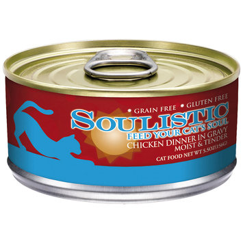 Soulistic Moist & Tender Chicken Dinner Adult Canned Cat Food in Gravy, 5.5 oz, Case of 8