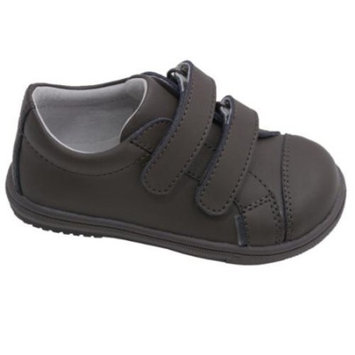 L'Amour Toddler Boys Khaki Double Velcro Strap Leather Sneakers 4-10 Toddler