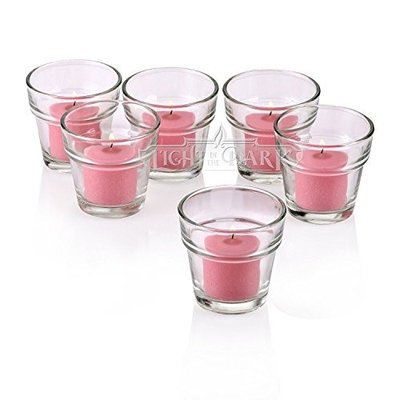 Light In The Dark Clear Glass Flower Pot Votive Candle Holders with Soft Pink Votive Candles (Set of 36)