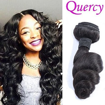 Quercy Hair Brazilian 9a Unprocessed Loose Wave Remy Virgin Human Hair Weave Pack of 3 Hair Extensions Natural Color (24 26 28inch)