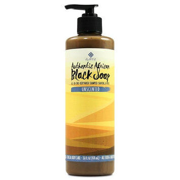 Alaffia - Authentic African Black Soap, All-in-One Body Wash, Shampoo, and Shaving Soap, All Skin and Hair Types, Fair Trade, No Parabens, Non-GMO, No SLS, Unscented, 16 Ounces (FFP)