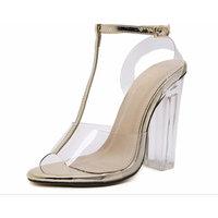 Women New Summer Women Open-Toed High-Heeled Shoes Sandals [gold, 37]