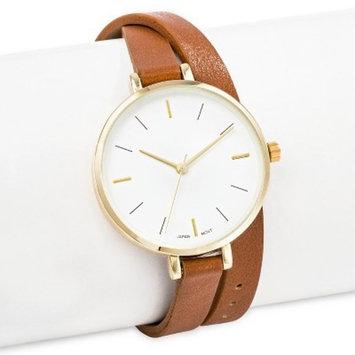 Women's Thin Double Wrap Strap Watch Brown - Merona™