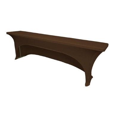 LA Linen TCSpandex-OB96x18x30-BrownX22 Open Back Spandex Tablecloth for Classroom Tables Brown - 96 x 18 x 30 in.