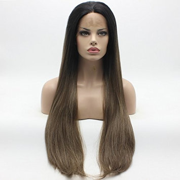 Lushy Straight Long Silk Three Tone Dark Root Brown Light Blonde Ombre Mix Wig Half Hand Tied Heat Friendly Heavy Density Synthetic Lace Front Wig