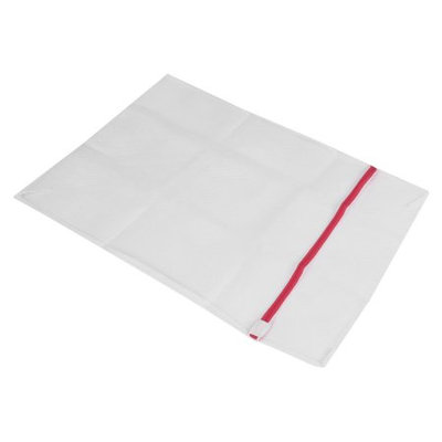 Household 50 x 70cm Zip Fastener Clothes Meshy Washing Bag White Red