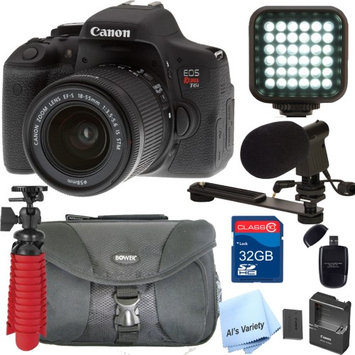 Als Variety Canon EOS Rebel T6i DSLR Video Kit with 18-55mm Lens, Video Shot Gun Mic, Video Rechargeable LED Light and 32GB SD Card Class 10 And Much More