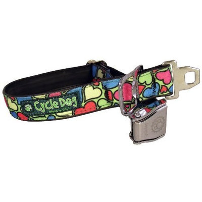 Cycle Dog Bottle Opener Recycled Dog Collar with Seatbelt Metal Buckle [Green Base Hearts]