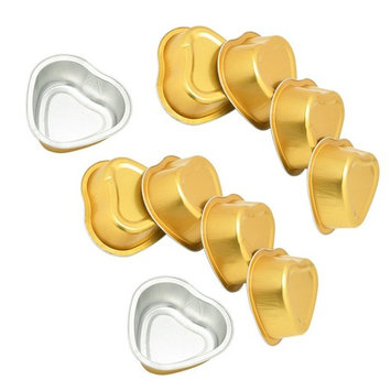 Dovewill 10 Pieces Gold Heart-Shaped Aluminum Foil Melting Hair Remove Wax Small Bowl