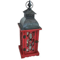 Bella Products BGPD183S140060 Lantern Wood with Metal Top Red with Hook