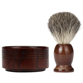 Voberry ZY 2PCS/Set Wet Shaving Badger Brush Classic Wood Bowl Mug Men Shave Tool (brown)