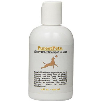 PurestPets Allergy Relief Medicated Dog Shampoo, 4-Ounce