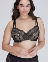 Cacique Plus Size Lace-Covered Lightly Lined Balconette Bra, Women's, Size: 44H, Black