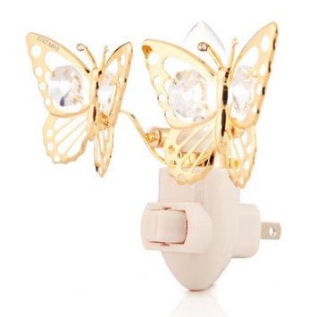 Matshi Matashi CTNL2525 - 24K Gold Plated Butterfly Night Light Made with Genuine Matashi Crystals
