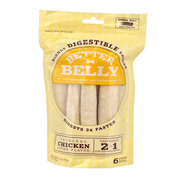 Better Belly Chicken Liver Rawhide Rolls Small Dog Chews