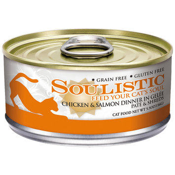 Soulistic Pate & Shreds Chicken & Salmon Dinner Adult Canned Cat Food in Gelee, 5.5 oz, Case of 8