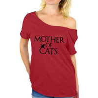 Awkward Styles Women's Mother Of Cats Fun Graphic Off Shoulder Tops T-shirt Pet Lover Gift