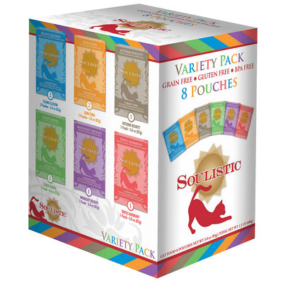 Soulistic Variety Pack Adult Cat Food Pouches, 3 oz, Case of 8