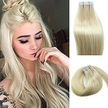 Tape In Human Hair Extensions Blonde 16inches 20pcs 30g Set Silky Straight Skin Weft real human remy hair pieces