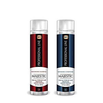 Majestic Keratin Replenishing Shampoo + Conditioner 10oz(300ml)- Soduim Chloride & Sulfate Free
