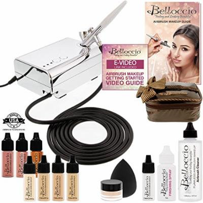 Belloccio Professional Beauty Airbrush Cosmetic Makeup System with 4 Fair Shades of Foundation for Women