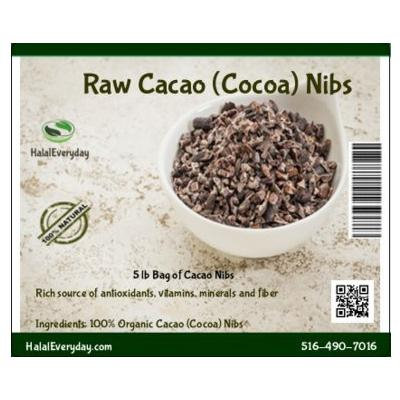 Raw Cacao Nibs from Ecuador - 100% Pure, Raw and all Natural. Non-GMO, Gluten-Free, Vegan - 5 Pounds