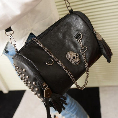 All Matched Women Skull Rivet Tassels Shoulder Bag Handbag Crossbody Black,black